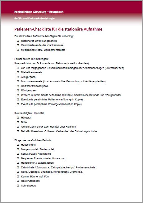 Checkliste stat Aufn
